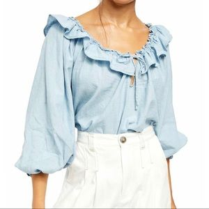 Free People   Lily of the Valley Ruffle Trim Shirt